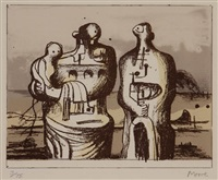 pallas heads and family group in industrial landscape: two works by henry moore