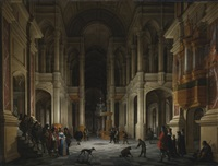 the interior of a renaissance-style church at night with an elegant couple making an entrance by anthonie palamedesz