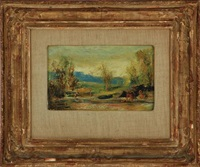 blue landscape with bathers; keen valley (2 works) by louis michel eilshemius