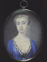 a noblewoman wearing ermine-trimmed blue robes held with a jewelled brooch, white underdress, her hair powdered by peter paul lens