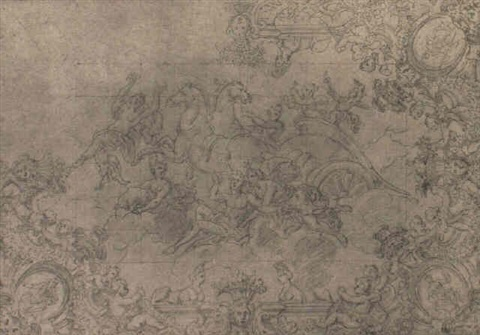 design for ceiling with dawn flanked by borders with putti by laurent pécheux