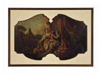 a pair of louis xv style shaped over door panels in giltwood frames by françois boucher