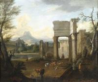 campagnalandschaft mit hirten und tieren vor antiken ruinen by hendrick mommers