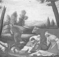 peasants eating by the side of a field by alessandro bassano