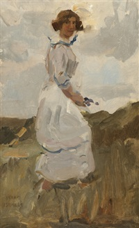 bloemplukster in duinpan by isaac israels