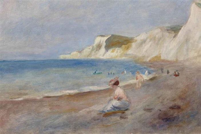 la plage de varengeville by pierre auguste renoir