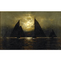 moonlit sailing scene by a. rodetti