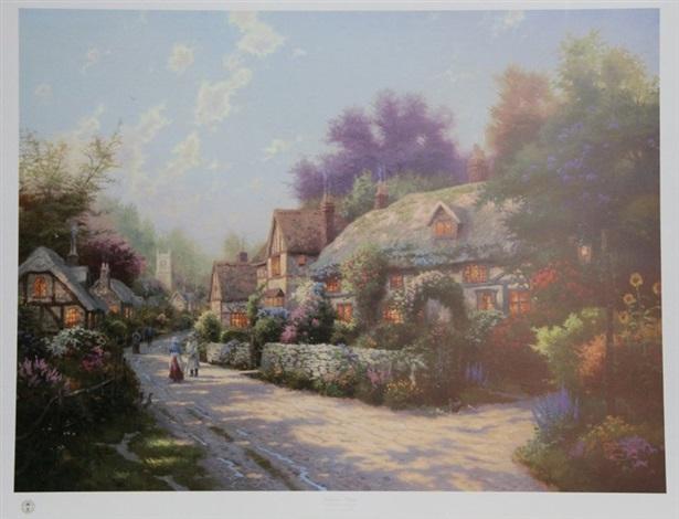 cobblestone village, cobblestone lane iii by thomas kinkade