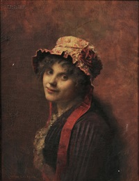 portrait of a woman in a ruffled cap by gustave claude etienne courtois