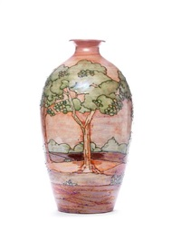 pink sunset large landscape vase by lise b moorcroft