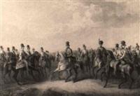 kaiser ferdinand i. mit den erzherzögen auf dem manöverfeld by karl august aerttinger