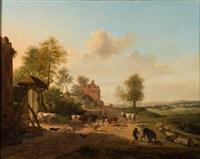 herdsmen, cattle and animals outside a farm by henri-joseph antonissen