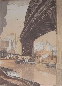 the high level bridge, cleveland by rudolph ruzicka