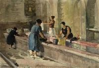 waschfrauen in saint tropez by josef tomas blazek