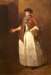 paysanne saxonne dans l'embrasure d'une porte by charles françois hutin