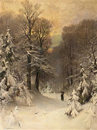 reisigsammlerin im winterwald by sophus jacobsen
