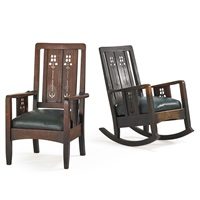 very rare and early armchair and rocker with floral cutouts by charles limbert