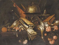 a globe, a book, an hourlgass, dead game, roses, fruit and weapons on a table by petrus schotanus