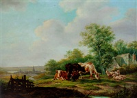cattle and sheep in a farm landscape with a village beyond by anthony jacobus offermans