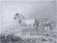 wild horses gathering during a storm by friedrich karl joseph simmler
