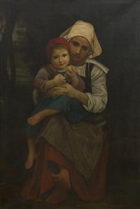 mother and child (after william adolphe bouguereau) by henry salem hubbell