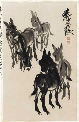 five donkeys by huang zhou