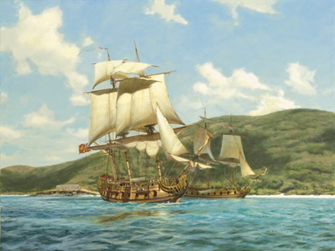 anchors aweigh two british fifth rates getting underway off the fort jost van dyke british virgin islands 1690s by a d blake