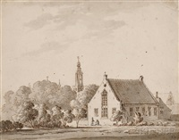 a view of amersfoort, cartpath by huts, and a view of leusden (3 works) by jan apeldoorn