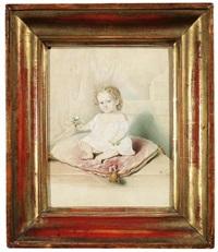 bildnis eines sitzenden kindes auf einem roten kissen, in seinen händen hält es kleine blümchen by leopold fischer