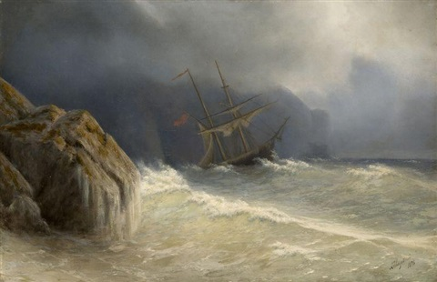 ship in the storm by ivan konstantinovich aivazovsky