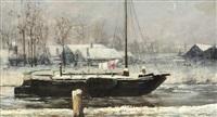 chaloupe ammarée en hiver by henri van melle
