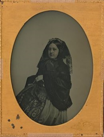portrait of a young woman with lace veil by mathew b brady