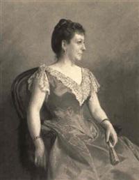 portrait of a seated lady holding a fan by marie pauline adrienne coeffier