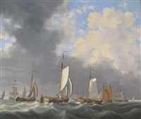dutch pinks and frigates off a distant shoreline by johannes christiaan schotel