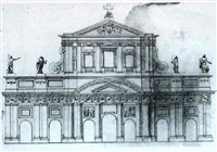 a drawing of the facade of s. giovanni in laterno;     and another drawing by carlo fontana