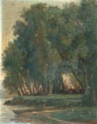 scène champêtre dans un sous-bois au bord d'une rivière by nicolas louis cabat