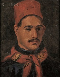 portrait of a man wearing a red fez by william morris hunt