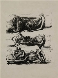 three reclining figures with water background by henry moore