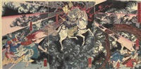 nitta yoshioki no rei okorite shu to mukuu (spirit of nitta yoshioki avenging his enemy) (+2 others; triptych) by utagawa yoshikazu