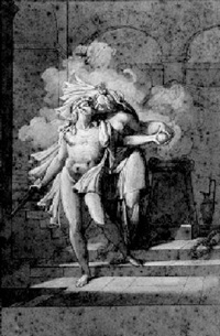 a couple kissing by a burning altar by armand charles caraffe