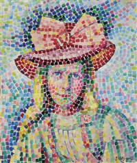jeune fille au chapeau rose by jean metzinger