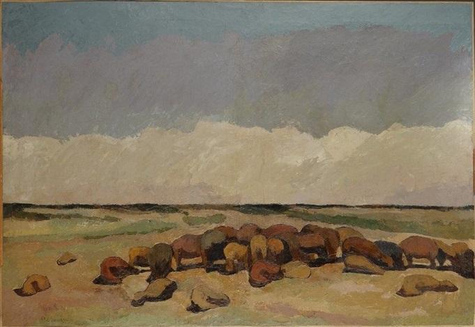 paysage avec troupeaux de moutons gizeh by maurice le scouezec