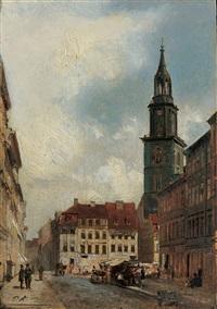 die papenstrasse in berlin mit blick auf die marienkirche by paul andorff