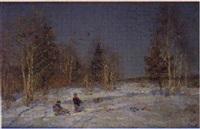 niños con trineo en invierno by vladimir gusev