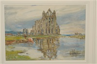 whitby abbey with cattle watering beside a pond by rowland henry hill