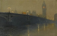 evening, westminster bridge by yoshio markino