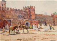 les remparts des oudayas, rabat by eugène bernhardt