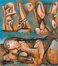 five figures at the beach by kauko lehtinen
