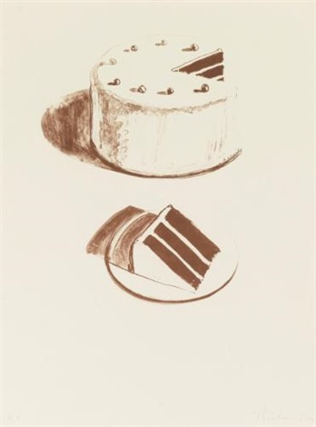 chocolate cake from seven still lifes and a rabbit by wayne thiebaud
