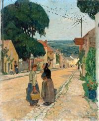 women on a path by jules adler